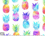 Good Vibes Only - Tropical State of Mind Pineapples White from Michael Miller Fabric