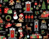 London Christmas - London Icons Black from Makower UK  Fabric