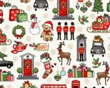 London Christmas - London Icons Cream from Makower UK  Fabric