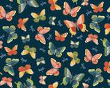 Michiko - Butterflies Navy Blue from Makower UK  Fabric