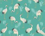 Michiko - Cranes Teal from Makower UK  Fabric
