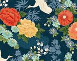 Michiko - Large Floral Crane Blue from Makower UK  Fabric