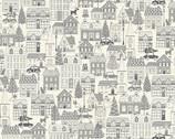 Scandi - Houses Silver Grey from Makower UK  Fabric