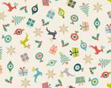 Merry - Christmas Items Scattered Eggshell Cream from Makower UK  Fabric