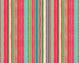 Let It Snow - Dotty Stripe Multi from Makower UK  Fabric