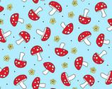 Hoot Hoot - Mushrooms Sky Blue from Andover Fabrics
