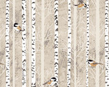 Woodland Winter - Feathered Friends Birds Birch Almond by Two Can Art from Andover Fabrics