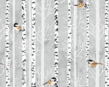 Woodland Winter - Feathered Friends Birds Birch Fog Grey by Two Can Art from Andover Fabrics