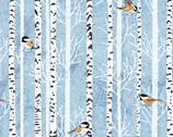 Woodland Winter - Feathered Friends Birds Birch Mist Blue by Two Can Art from Andover Fabrics