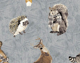 Woodland Winter - Woodland Collage Animals Slate by Two Can Art from Andover Fabrics