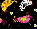 The Coop - Chicken Dance Black by Kim Shaefer from Andover Fabrics