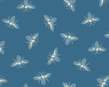 French Bee - Bees Ocean Blue by Need'l Love from Andover Fabrics