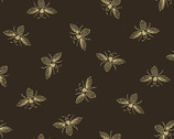 Beehive - Bees Yellow on Black Charcoal by Need'l Love from Andover Fabrics
