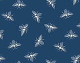 French Bee - Bees Indigo Blue by Need'l Love from Andover Fabrics
