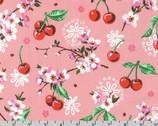 Wishwell Cheery Blossom - Cherries Blossoms Peach Pink from Robert Kaufman Fabric