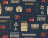 Retro Japan - Home Appliances CANVAS Blue from Kokka Fabric