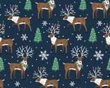 Believe - Reindeer Navy Blue from 3 Wishes Fabric