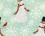 Home for the Holidays - Snowman Turquoise Mint by Beth Albert from 3 Wishes Fabric