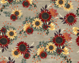 Happy Fall - Flowers Tan by Beth Albert from 3 Wishes Fabric