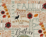 Happy Fall - Words Beige by Beth Albert from 3 Wishes Fabric