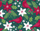 Holiday Wonder - Cardinal Green from 3 Wishes Fabric