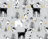 Peace on Earth GLITTER - Peace Animals Grey from 3 Wishes Fabric