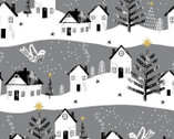 Peace on Earth GLITTER - Village Grey from 3 Wishes Fabric