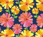 The VHC In the Garden -Flower Fancy Night by Eric Carle from Andover Fabrics
