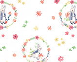 Peter Rabbit Flowers and Dreams - Floral Wreath White by Beatrix Potter from The Craft Cotton Company