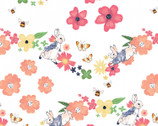 Peter Rabbit Flowers and Dreams - Larger Florals White by Beatrix Potter from The Craft Cotton Company