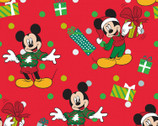 Mickey and Friends Christmas - Mickey for Me Red by Disney from Springs Creative Fabric