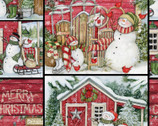 Christmas Santa's Lodge Collage from Springs Creative Fabric