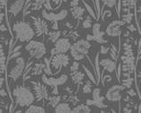 Spring Florals - Tonal Floral Bird Gray from David Textiles Fabrics
