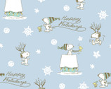 Peanuts Christmas - Happy Holidays Snoopy Woodstock Blue from Springs Creative Fabric