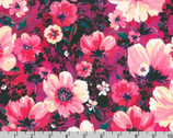 Wishwell Wild Blue - Floral Blooms Magenta by Vanessa Lillrose and Linda Fitch from Robert Kaufman Fabric