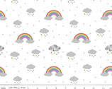 Dream - In Color Rainbow Rain Clouds White by Kristy Lea from Riley Blake Fabric