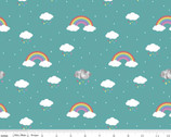 Dream - In Color Rainbow Rain Clouds Teal Vivid by Kristy Lea from Riley Blake Fabric