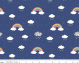 Dream - In Color Rainbow Rain Clouds Cobalt Blue by Kristy Lea from Riley Blake Fabric