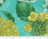 Cottage Bleu - Florals Horizon Aqua Teal by Robin Pickens from Moda Fabrics