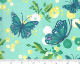 Cottage Bleu - Butterflies Dewdrop Aqua by Robin Pickens from Moda Fabrics