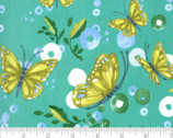 Cottage Bleu - Butterflies Horizon Teal Aqua by Robin Pickens from Moda Fabrics