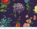 Flea Market Fresh - Floral Names Parchment Purple by Cathe Holden from Moda Fabrics