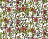 Botanical Journal - Digital Floral Bird White by Iron Orchid Designs from Clothworks Fabric