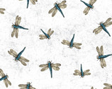 Botanical Journal - Dragonflies White by Iron Orchid Designs from Clothworks Fabric