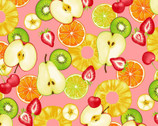 Fresh Fruits OXFORD - Mixed Fruit Slices Pink from Cosmo Fabric
