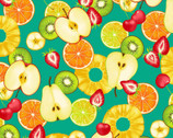 Fresh Fruits OXFORD - Mixed Fruit Slices Aqua Teal from Cosmo Fabric
