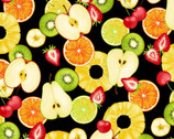 Fresh Fruits OXFORD - Mixed Fruit Slices Black from Cosmo Fabric