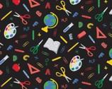 Teachers Rule - Black To School Tools Black from Camelot Fabrics