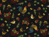 Farm To Market - Rooster Toss Black by Jan Mott from Henry Glass Fabric
