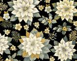 Rejoice Metallic - Treasured Poinsettia Black from Kanvas Studio Fabric